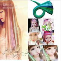 Wholesale 2013Hot Fashion Colorful Popular Colored Clip On In Hair Extensions Straight hair and hair color wig