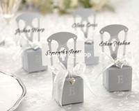 Wedding Event & Party Supplies China (Mainland) Wedding candy boxes of Miniature Silver Chair Favor Box with Heart Charm and Ribbon(name card available) 120pcs lotfree shipping