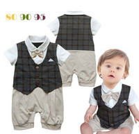 Cheap Gentleman Romper Infant Boy Rompers With Bow Tie One Piece Clothing Kids Climb Clothes Baby Jumpsuits