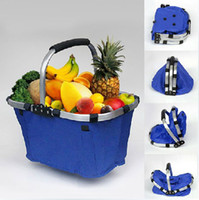 Wholesale Colorful Waterproof Folding Basket Portable Shopping Handbaskets Canvas Foldable Picnic Vegetable Market Storage Tote Basket