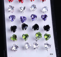 Multi-color assorted rhinestones - New box pairs Sterling Silver mm Ear Stud Women Lady Pretty Assorted Color Mixed Crystal Round Earrings Fashion Jewelry SC4