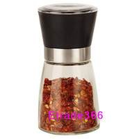Wholesale 120pcs Best selling Glass Pepper set Salt Herb Spice Hand Grinder Mill manual pepper mill High Quality