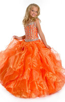 Wholesale A line Beading Orange Girl s Pageant Dresses Spaghetti Flower Girls Dresses Wedding Girls Dress Party Dress A110