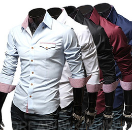 Wholesale 2013 new fashion Lattice mens shirts casual long sleeve men s shirts slim men s shirt light blue