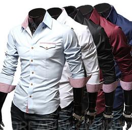 Wholesale 2013 new fashion Lattice mens shirts casual long sleeve men s shirts slim men s shirt light blue