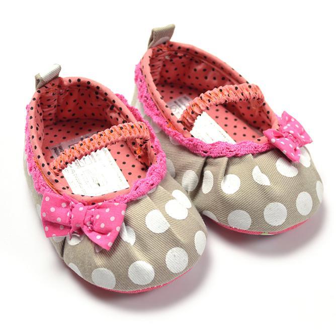 2017 Infant Toddler Baby Polka Dot Pink Grey Girl Pre Walker Shoes ...