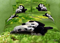 Adult Twill Printed FS-572 lover panda 3D printed 4pc bedding set green Luxury bedclothes Duvet quilt cover sets 100% Cotton coverlet king queen