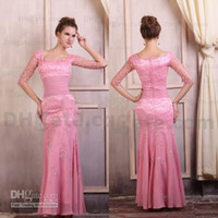 Cheap High Quality !! Hot Pink Lace Stretch Satin Half Sleeve Wedding Evening Dress ED018
