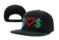 Wholesale Peace Love Money Snapbacks White Black Spread Peace Make Love Get Money Mix Order Baseball Caps Street Hiphop Hats