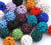 loose shamballa beads - 100pcs mm colorful Clay with Crystal Rhinestone Shamballa DISCO Loose Beads for Bracelet and Necklace Jewelry beads mix Color DIY