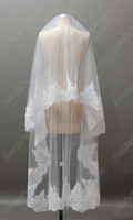 beaded lace trims - Short Bridal Wedding Veils White or Ivory Beaded Alencon Lace Trim Fingertips Length Two Tiered Bridal Veil Wedding Veils
