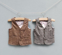 baby boy buttons - 2015 Boys Waistcot Autumn Winter New Baby Kids Clothing Children s Fashion Waist Coat England Style outerwear SJ