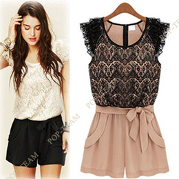 Wholesale Women White Sleeveless lace jumpsuit dress Belted Rompers Chiffon Shorts NY09