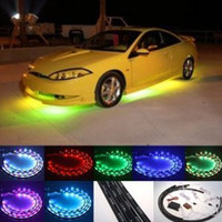 Wholesale 7 Color LED Under Car Lights Kit quot x quot x w Sound Active Function and Wireless Remote Control Free Gift