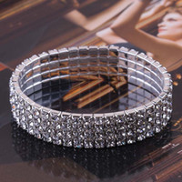 Wholesale Bracelets For Wedding Full Diamond Stretch Bracelet Bright Crystal Bridal Bracelets For Women Single Row DL0100
