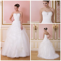 Wholesale 2014 white Bridal gowns Wedding dresses Summer beach Strapless Ball gown Bandage Fashion