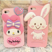 Wholesale DHL Cute Cartoon image Bowknot rabbit curly hair girl Pink Baby rabbit Case Cover Soft silicon gel Back protector For Apple iPhone G S