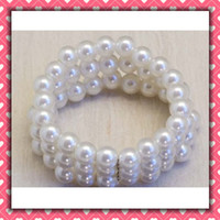 imitation pearl ECO Friendly  Free Shipping 50pcs lot three rounds Pearls Napkin Rings Wedding wholesale