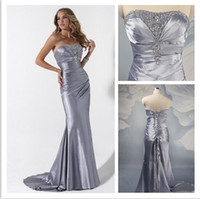 Elastic Satin Court Train Lace-up Customized Charmeuse Beaded Pleats Strapless Sheath 2013 Silver Corset Evening Prom Dresses Online Hot Style Women Gown