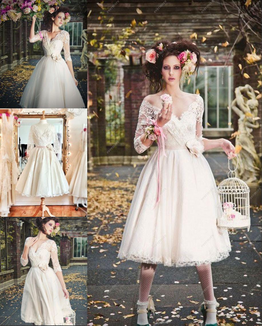 Surper Stars V Neck A Line Tulle Lace Half Sleeves Tea Length Short Wedding Dresses New Prom