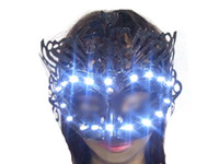 Wholesale Charming Mask LED Glowing Masquerade Masks Trendy Halloween Stage Masks for Women Delicated Party Props Clubwear V Colors Available