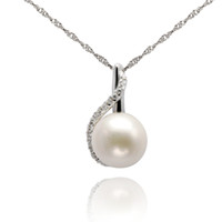 silver - 2016 New Year Gift Elegant Natural Freshwater Pearl Pendant Sterling Silver Pendant CZ Pendant PS02400