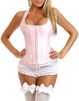 hot shapers - Drop Shipping Sexy Pink Halter Bustiers Hot Shapers Body Chest Binder Women Fashion Corset Twinset Size S XXL