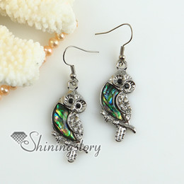 owl rainbow abalone oyster sea shell mother of pearl rhinestone dangle earrings Fashion jewellery