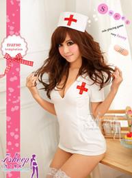 Wholesale Nurse Costume Lingerie Nightclubs performance clothing Sexy underwear Exotic Apparel cap dress thong