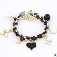 Wholesale Clover love pendant drop pearl lace ribbon woven bracelets colors fashion ladies bracelsts jewelry sp425