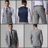 Wholesale Best selling Two buttons Notch Lapel Light grey Groom Tuxedos Groomsmen Men Wedding Suits Best man Suits Jacket Pants Vest Tie