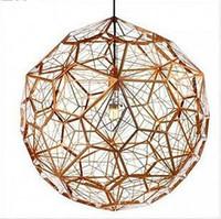 Dia 38см / 56см / 65см Etch светодиодные веб-медь / серебро люстры подвесные светильники Tom Dixon Творческий Алмазный Droplight Свет Освещение CR02