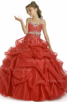 Wholesale 2013 DHgate Tulle Pick Up Ball Gown Little Girl s Pageant Gowns Beaded U Shaped Zipper Full Length