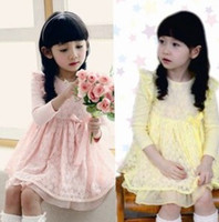 Wholesale Children Girls Lace Frill Crinoline Pink Yellow Long Sleeve Dress Party Princess Girls Gymboree Occasion Dress B0830