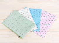 Wholesale Cute Portable Pen Paper Cosmetic Bag Flower Pastoral Canvas Storage Bag High Capacity Folder Stationery