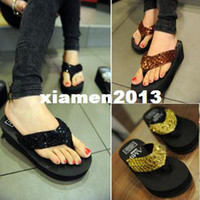 Wholesale 2013 lady s Sequins sandal women Beach home flip flops slippers flat sandals