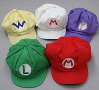 Wholesale Super Mario Bros Anime Cosplay Red Cap Tag Super cotton hat Super mario hats Luigi hat colors