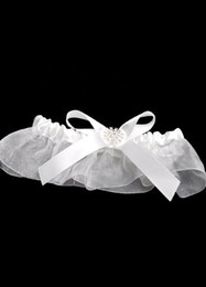 Wholesale White Bow Rhinestone Terylene Satin Gauze Wedding Garter beach u7 BkQ