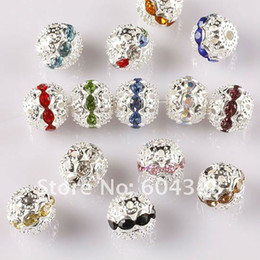Wholesale Silver Plated Round Rhinestones Beads - 10MM Mixed Color Crystal Rhinestone Spacer Loose Beads, Silver Plated Shamballa Pave Metal Balls, Jewelry Findings-100PCS