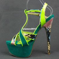 Unisex other PU New arrived 2013 The Most Popular Women's Neon color Snakeskin Ankle Strap Stiletto High heels Hot Party Pumps Free shipping
