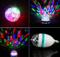 Wholesale Retail RGB Full Color W E27 LED Bulb Crystal Auto Rotating Stage Effect DJ Light Bulb Mini laser Stage Light Freeshipping