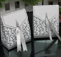 Wholesale Silver Ribbon Wedding favour box Party Candy Box Favor Gift Boxes wedding box
