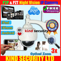 Wholesale Hot H P IR CUT WIFI PTZ Outdoor Waterproof Dome IP Camera Built in GB TF Card x Opitical Zoom by DHL