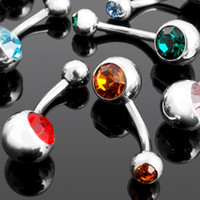 Wholesale Fashion double gem Belly Navel Bar Rings Body Piercing