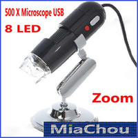 Cheap 40pcs On Stock 500x Microscopes 2.0MP Convenient USB Microscope Digital Microscope 8 LED