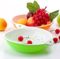Wholesale necessities double layer drip basket fruit blue fruit tray drain k0436