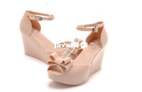 Wholesale 2013 New Melissa jelly shoes bow thick crust slope with high heeled sandals fish head