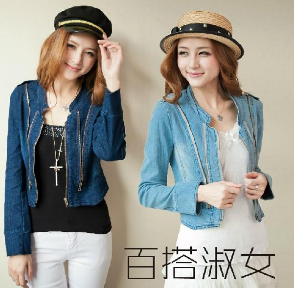 Womens Coats Clothes Girls Casual Short Stand Zipper Demin Jean ...