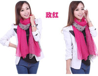 Wholesale 10 Hot Sale Lady s Scarf Korean Style Scarves Small Dot Pattern Voile Scarfs Wrap