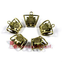 12PCS LOT, Top Fashion Jewellery Necklace Scarf Pendant Antique Bronze Zinc Alloy Sunflower Slide Bails Tube Charm, Free Shipping, AC0048B
